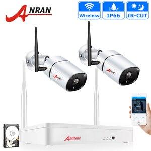Беспроводная камера видеонаблюдения ANRAN, комплект камер видеонаблюдения, 2 канала, NVR, 1080P, 2 МП, IP67, Wi-Fi