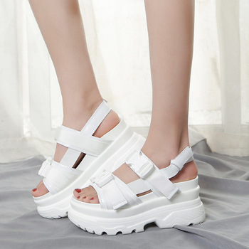 2020 summer design women sandals thick bottom wedge platform sandals ladies ankle strap open-toed beach shoes woman white black women new design white leather lace up mix color ball design thick heel sandals gladiator sandals ladies beach sandals