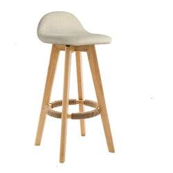 Nordic krzesło barowe z litego drewna z powrotem stołek barowy retro dom wysoki stołek obrotowy nowoczesny minimalistyczny przód krzesło biurowe