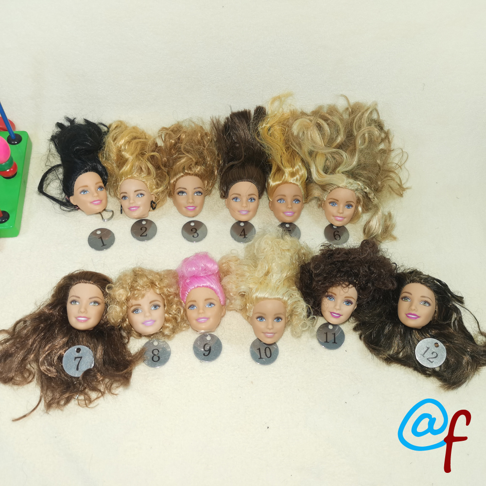 B20-27 Original Foreign Trade European Beauty1/6 OOAK NUDE Doll Head Mussed Long Hair For DIY Soft PVC Head  90%NEW