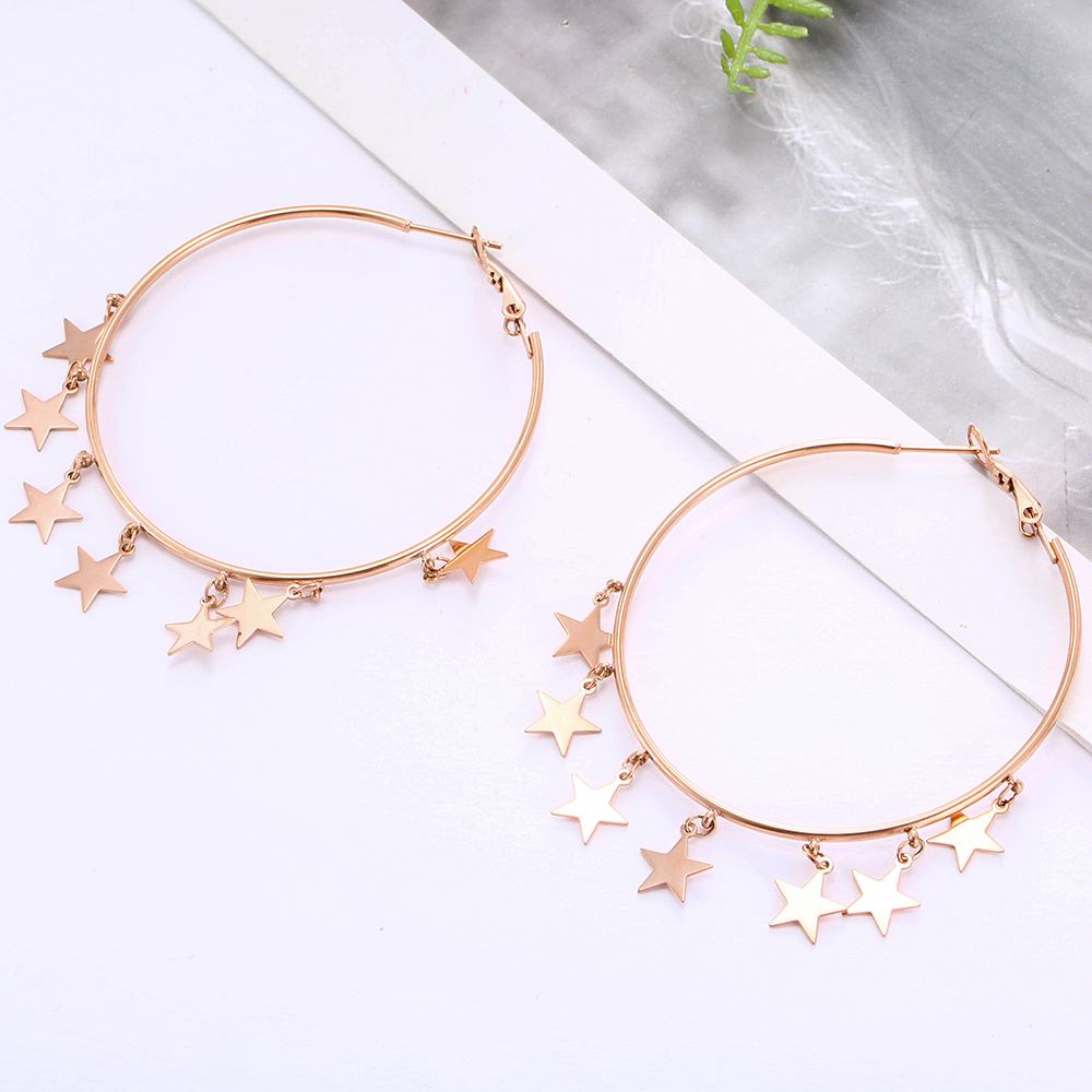 Simple Trendy Stainless Steel Star Drop Earring For Women Sliver Tassel Hoop Earring Girl Valentine's Day Gfit Statement Jewelry