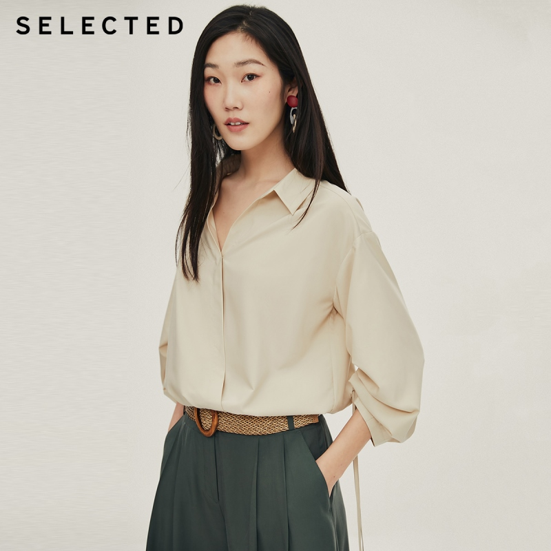 SELECTED Women's Loose Fit Drawstring Temperament 3/4 Sleeves Shirt S|420251506