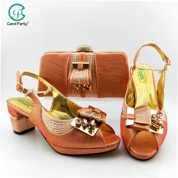 capputine new arrival italian style woman shoes and bags set 2018 shoes with matching bag set lady dress party shoes bl0021 2020 Latest Italian design Shoes with Matching Bags for Wedding Italy Nigerian Women Wedding Shoes and Bag Set inPEACH Color