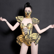 Performance Costume Jumpsuit Leading DJ Stage Singer Dance-Team Sexy Nightclub Yellow