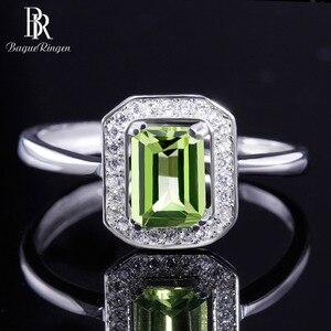 Image 5 - Bague Ringen 100% Real Sterling Silver Ring Voor Vrouw Met Rechthoek 7*5Mm Natuurlijke Olivijn Gemstone Fine Jewelry bruiloften Geschenken