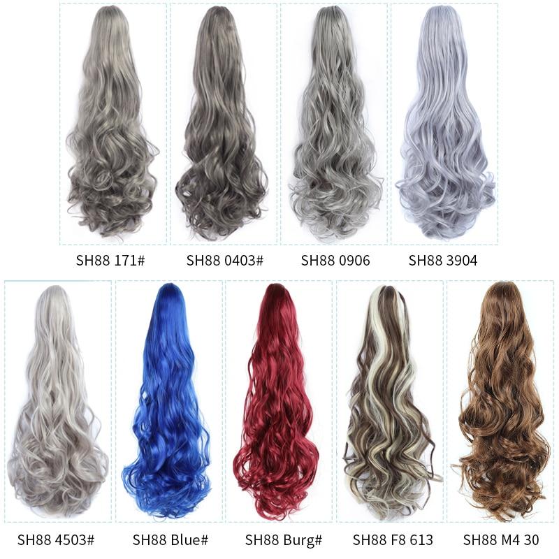 Длинные натуральные волнистые удлинители волос для конского хвоста, когти, конский хвост, 20 дюймов, синтетические волосы, черные, красные, ф...