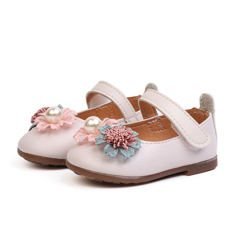 Smartbabyme Shoes Autumn Baby Cute Flower Shoes For Girls Soft PU Leather Crib Shoes Newborn Infant Girl Princess Shoes