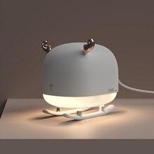 260ML kızak geyik ultrasonik hava nemlendirici Mini USB masaüstü Mist Maker yatak odası gece lambası uçucu yağ difüzör