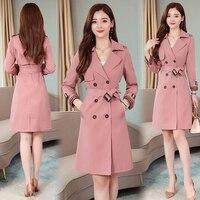 2019 Autumn and Winter Maxi Women Fashion Loose Trench Coat with Belt Khaki & Pink Plus Size Korean Vintage Windbreaker Outwear
