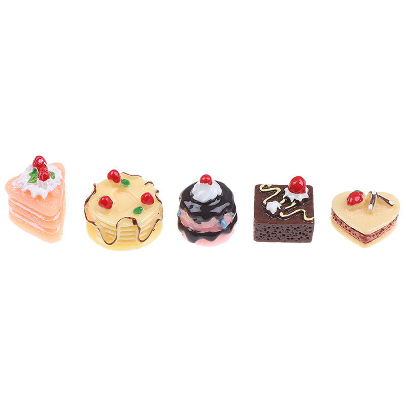 5Pcs Simulation Chocolate Cakes Miniature Decoration Your Dollhouse Add Some Lively Aure Food Figurine Dollhouse Accessories