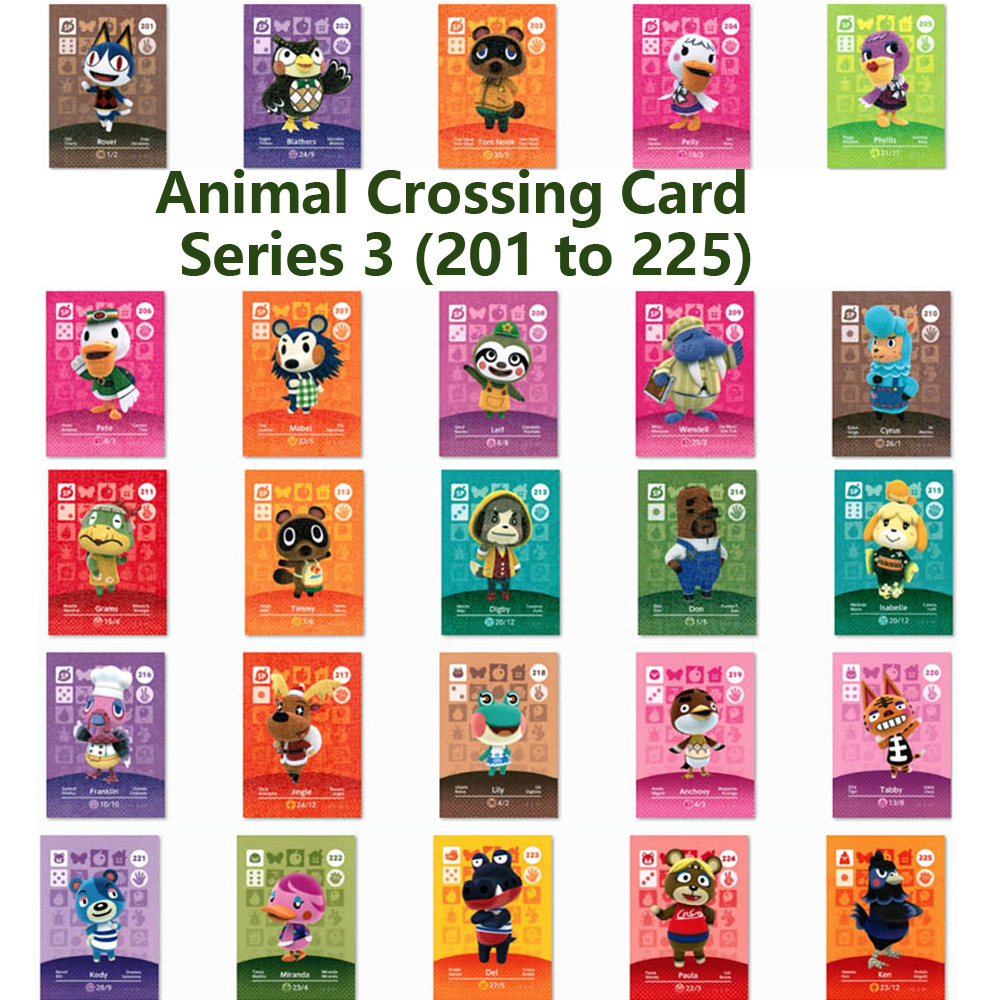 Series 3 (201 To 225) Animal Crossing Card Amiibo Locks Nfc Card Work For NS Games Series 3 (201 To 225)