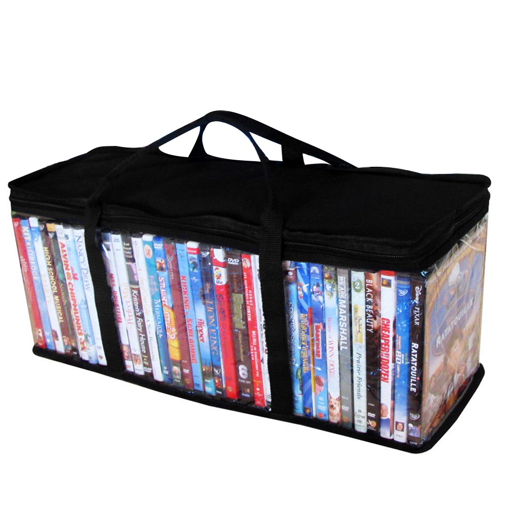 Dustproof DVD Carrying Clear Zipper <font><b>CD</b></font> Holder Protective Portable With Handle Storage <font><b>Bag</b></font> <font><b>Organizer</b></font> Oxford Cloth Large Video image