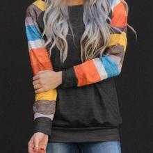 Женская цветная полосатая блузка хараджуку темно-серая Vogue Girl осень весна в полоску Ulzzang Tee Корейская одежда размера плюс