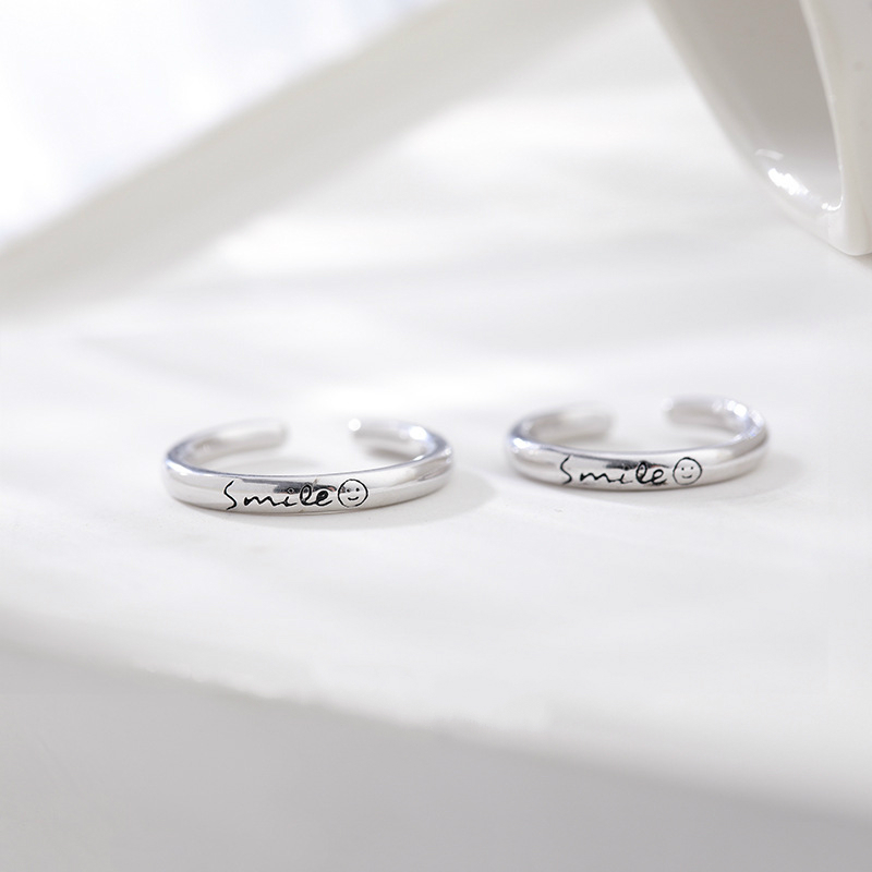 Wholesale  Silver Lovers Couple Ring 925 Smile Face Patterns Adjustable Finger Rings For Women Men Fashion Jewelry