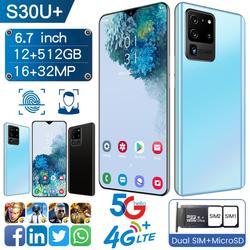 S30U + Smartphone Android 9.0 8GB RAM 128GB ROM 3000mAh MTK6580P 8 core CPU 6.3 Waterdrop Screen téléphone portable S20 +