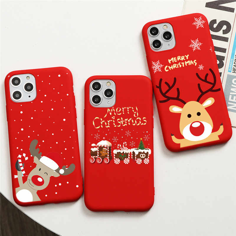 Cartoon Christmas Phone Case For iPhone XR 8 7 6S S Plus X 11 Pro XS Max 5S SE 2020 SE2 2 Case Silicone Soft TPU Cover Coque Elk