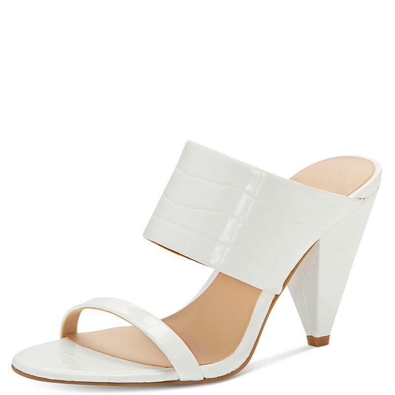 Croc blanc en relief talons hauts cône sandales femme bout ouvert sangle grande taille 12 15 dames été chaussures de loisir à la mode Shofoo - 3