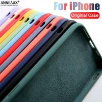 Líquido Original funda de silicona para iPhone 12 13 Pro Max Mini 11 Pro Max a prueba de golpes a prueba casos XR X XS X Max 8 7 6S 6 Plus SE contraportada