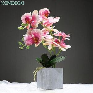 Image 5 - INDIGO  (1set) Orchidee Arrangment Echt Mit Vase Touch Bonsai Hochzeit Party Blume Dekoration Mittelpunkt Floristen Dropshipping