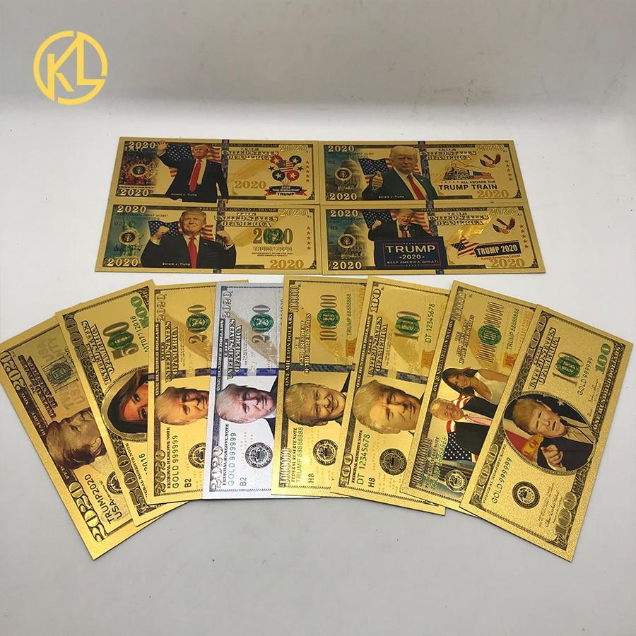 Nota 10 pces donald trump 2020 dinheiro dólar dos eua notas de ouro 1000 dólares notas de ouro folha de cor de ouro nota