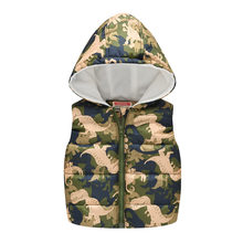 Kinder Mädchen Jungen Winter Westen Herbst Cartoon Camouflage Dinosaurier Jacke Sleeveless Mit Kapuze Westen Kinder Warme Top Mantel Outwear(China)
