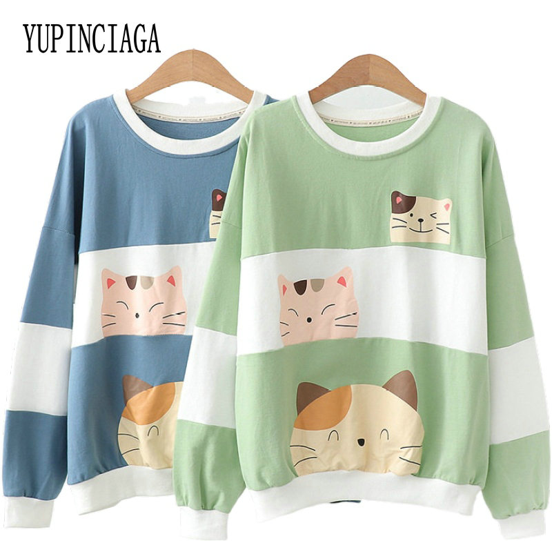 Women's Cartoon Print Patchwork Hoodies Cute Cat Sweatshirt 2020 Spring Long Sleeve O-Neck Casual Loose Femme Harajuku Pullovers