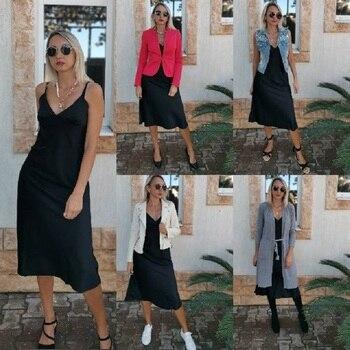 Женское атласное платье с глубоким V-образным вырезом, однотонная прямая Пижама Вечерние вечернее платье, элегантное женское летнее Повседневное платье на бретелях-спагетти, 2021 5