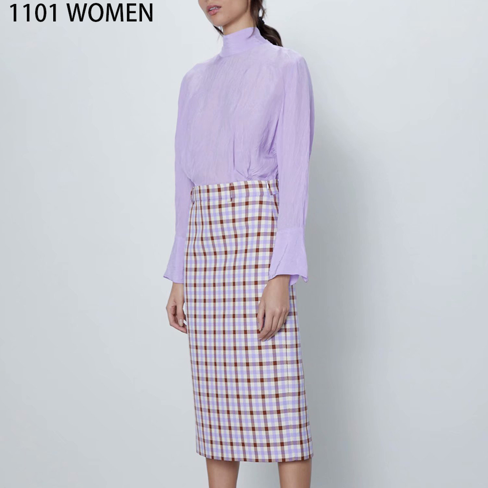 ZA NEW Spring Women's Beige Brown Plaid Mid-calf Straight Skirt Female Fashion Casual Woman Clothes