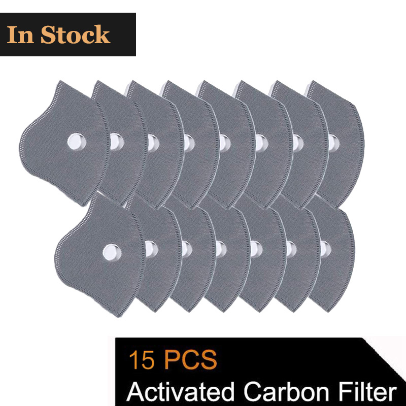 15 Pcs Activated Carbon PM2.5 Filters 5 Layers Filtration Exhaust Gas Anti Pollen Allergy Dust Mask Replacement Filter For M