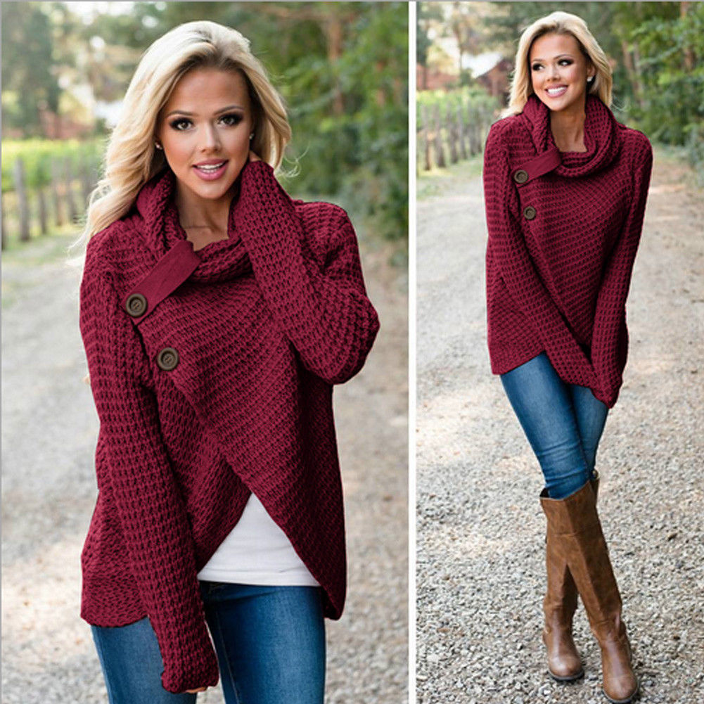 Women's Chunky Turtle Cowl Neck Asymmetric Hem Wrap Sweater Coat Button Details Sweaters