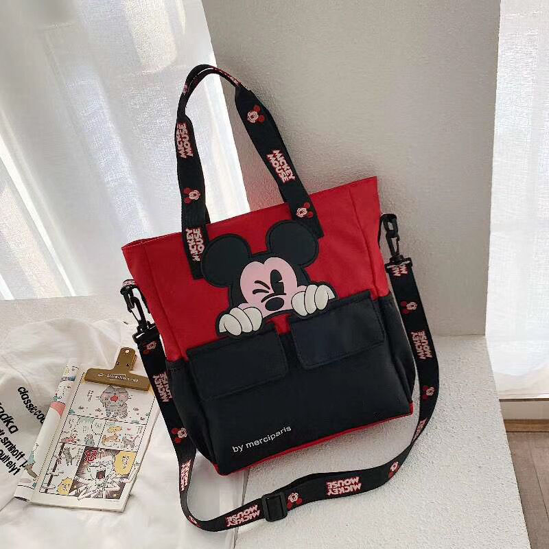 Disney Mickey Mouse Nylon School Tutor Bag Middle School Student Bag  Children's Messenger Shoulder Bag Boys Girls Handbags
