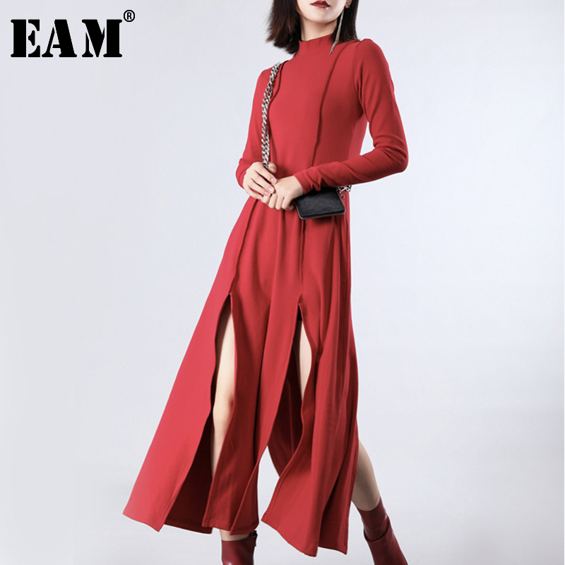 [EAM] Women Red Vent Split Joint Long Temperament Dress New Turtleneck Long Sleeve Loose Fit Fashion Spring Summer 2020 JZ343