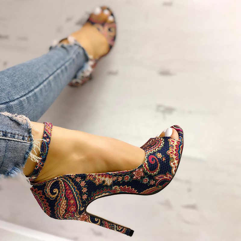 Sandals Women Peep Toe Print Flower Ankle Buckle Sexy Thin High Heels Shoes Female Fashion Ladies Shoes Stilettos Summer 2020
