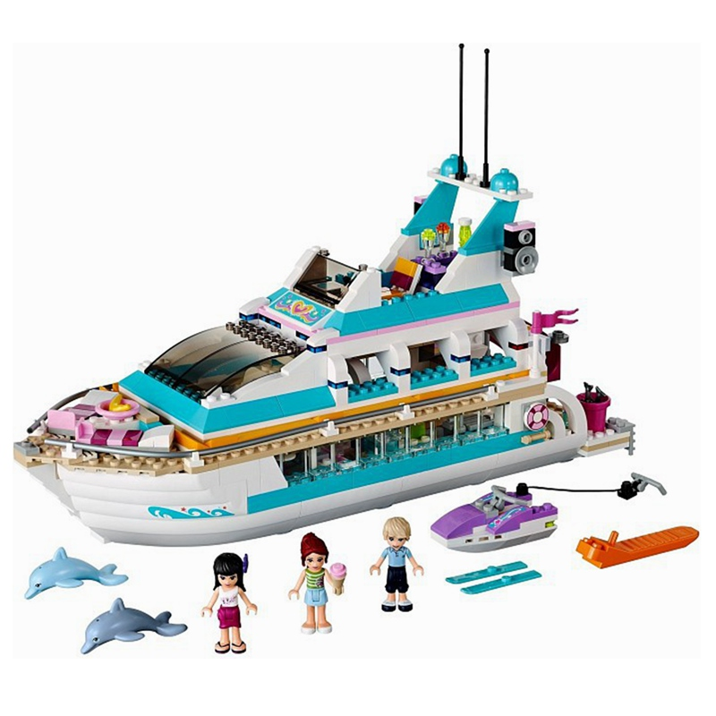Legoinglys Girl Building <font><b>Blocks</b></font> Holiday <font><b>Boat</b></font> 3D Building <font><b>Blocks</b></font> Children's <font><b>Toys</b></font> Compatible Friends Gifts Dolphin Yacht <font><b>Toys</b></font> image