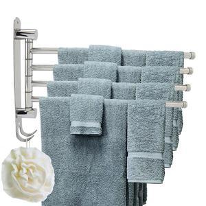 Image 1 - WALFRONT Anti rust Stainless Stainless Steel Rotating Towel Rack Bath Rail Hanger Towel Holder 4 Swivel Bars Bathroom Wall Mount
