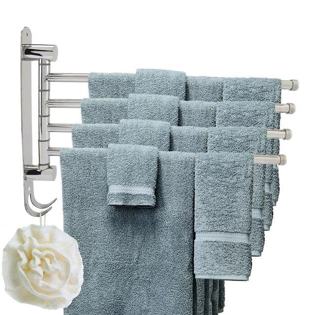 WALFRONT Anti rust Stainless Stainless Steel Rotating Towel Rack Bath Rail Hanger Towel Holder 4 Swivel Bars Bathroom Wall Mount
