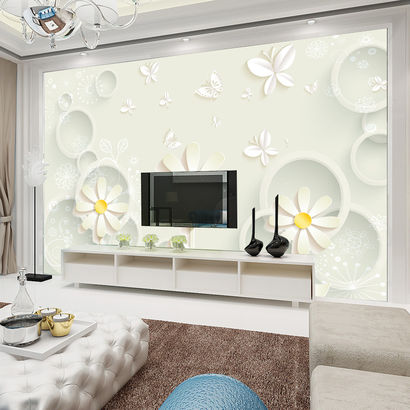 Elegant Room Orchid TV Background Wallpaper Mural Modern Minimalist Seamless Wall Cloth 3D Large Mural