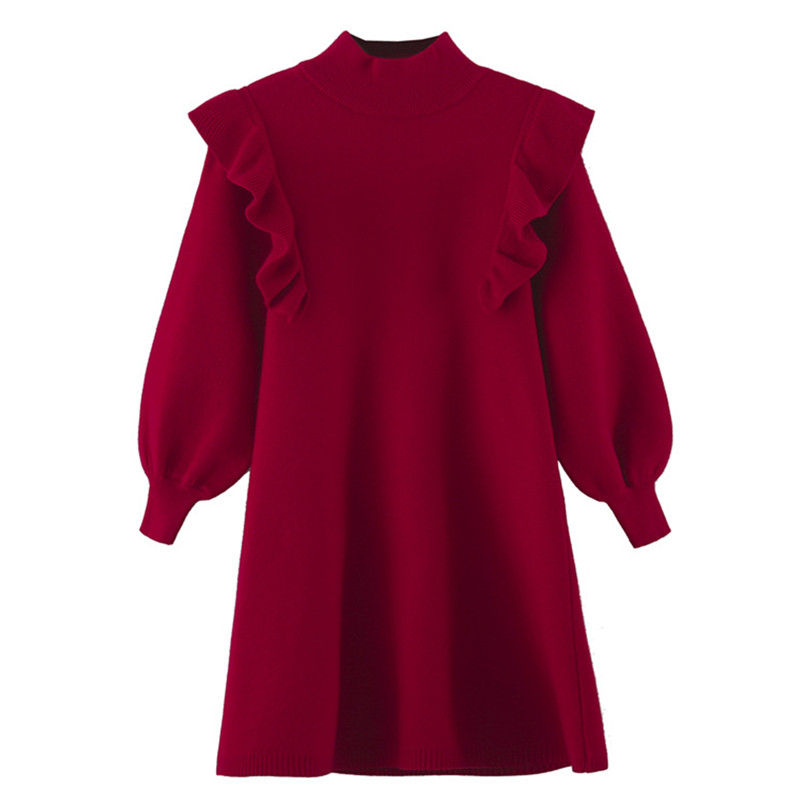 children girls fashion fall winter knitted turtleneck ruffle flare red princess dresses children girl formal Christmas dress