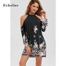 цена на Sexy Cold Shoulder Floral Border Print Plus Size Shift Dress Women Chic Lady Charming Vestidos Party Elegant Woman Streetwear