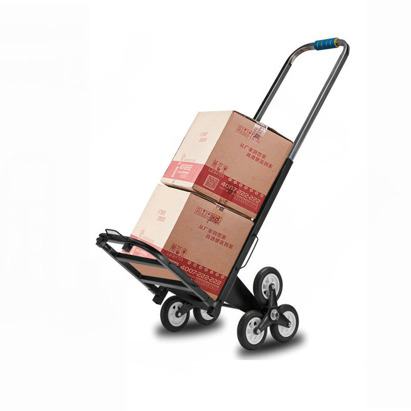 Portable Stair Climber Cart, 6 Rubber Wheels Folding Wagon, Household Shopping Trolley Steel Pipe Hand Truck