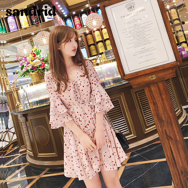 Summer 2020 New Korean Version Of Lady Fashion Floral Slim V-neck Lotus Leaf Sleeve A-line Dress