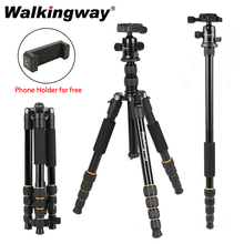 Walkingway الألومنيوم بروتابلي Q666 المهنية السفر كاميرا ترايبود Monopod الكرة رئيس و حامل هاتف ل DSLR الهاتف الذكي فيديو