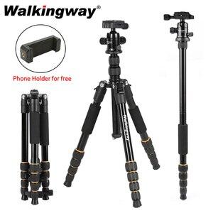 Image 1 - Walkingway الألومنيوم بروتابلي Q666 المهنية السفر كاميرا ترايبود Monopod الكرة رئيس و حامل هاتف ل DSLR الهاتف الذكي فيديو