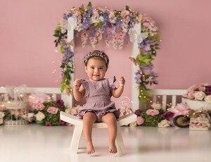 Image 3 - Mehofond noworodka tło różowy kwiat noworodka prysznic urodziny fotografia portretowa tło Photo Studio dekoracji