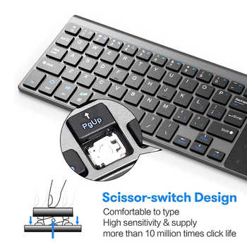 AVATTO Thin 2.4GHz USB Wireless Mini Keyboard with Number Touchpad Numeric Keypad for Android windows Tablet, Desktop, Laptop,PC