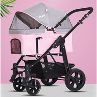 Pink Large Pet Stroller High Quality Dog Stroller Rescue Dog 4 wheeled Outbound Supplies Box Pet Carrier Big wheel Bearing 20kg