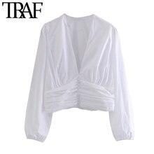 TRAF – chemisiers courts plissés à boutons décoratifs pour femmes, Vintage, manches longues, fermeture éclair latérale, chemises chics