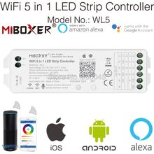 Miboxer WL5 2.4G 5 w 1 sterownik WiFi do LED na pojedynczy kolor CCT RGB RGBW RGB + CCT taśmy LED wsparcie Amazon Alexa sterowanie głosem