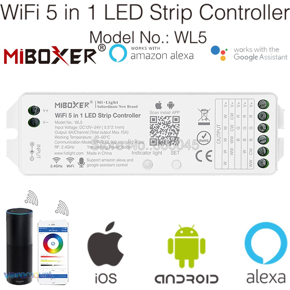 Miboxer WL5 <font><b>2</b></font>.4G <font><b>5</b></font> in <font><b>1</b></font> WiFi LED Controller for Single Color CCT RGB RGBW RGB+CCT LED Strip Support Amazon Alexa Voice Control image