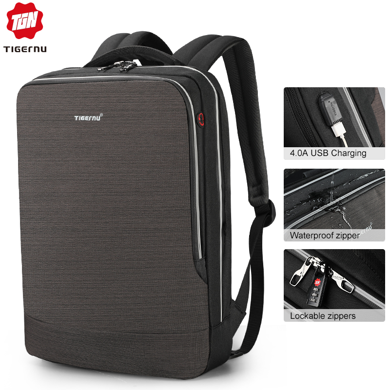 Tigernu 2019 New Business Backpack 15 6 inch Laptop Men Backpack Waterproof with USB Charging Headphone